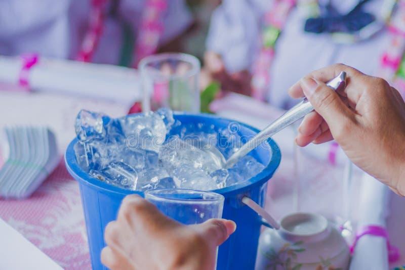 Les mains en gros plan de Th ajoutent la glace au verre pour distribuer aux amis photo libre de droits