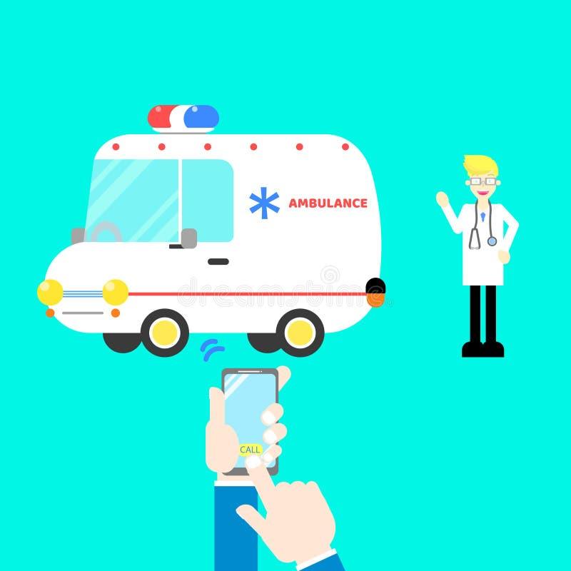 Les mains et le téléphone portable de participation de doigt appelle des soins de santé d'ambulance avec le docteur, stéthoscope  illustration libre de droits