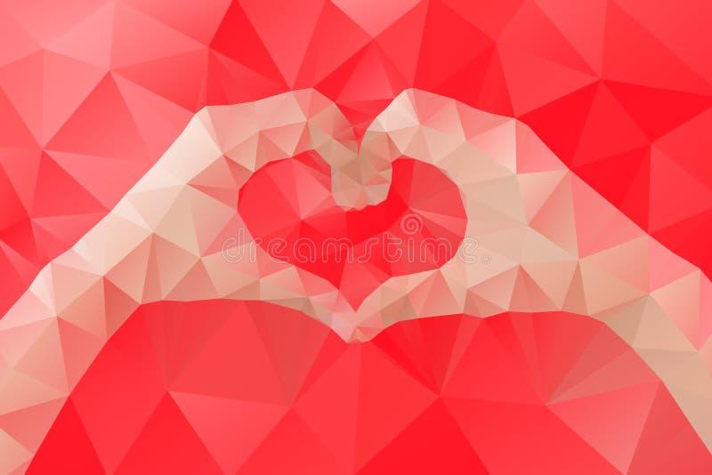 Les mains femelles faisant un coeur forment par la triangle géométrique abstraite dans le bas poly style illustration stock