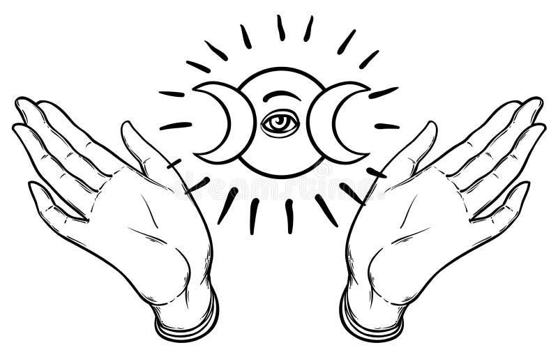 Les mains femelles s'ouvrent autour du symbole maçonnique Ordre mondial neuf Main-d illustration stock