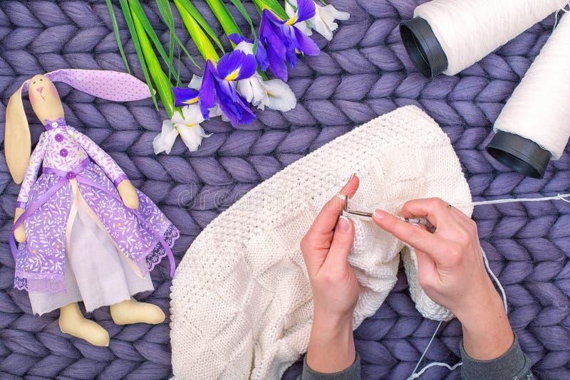 Les mains femelles tricotent une couverture avec des aiguilles de tricotage passe-temps images libres de droits