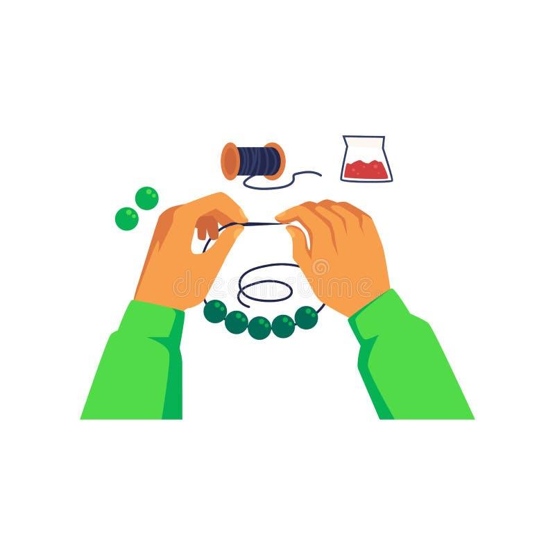Les mains ficellent une perle sur le fil et faire le style de bande dessinée de bijoux illustration libre de droits