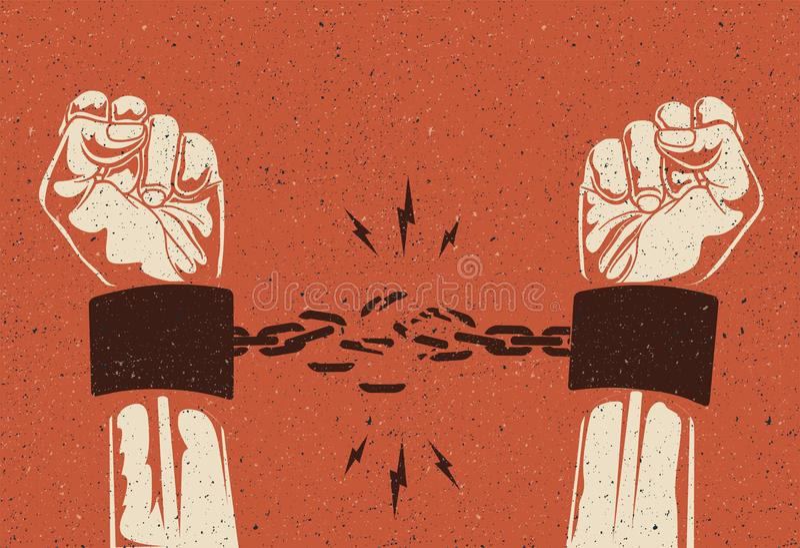Les mains humaines cassent la chaîne Concept de libération de liberté R?seau cass? Le vintage a d?nomm? l'illustration de vecteur photo libre de droits