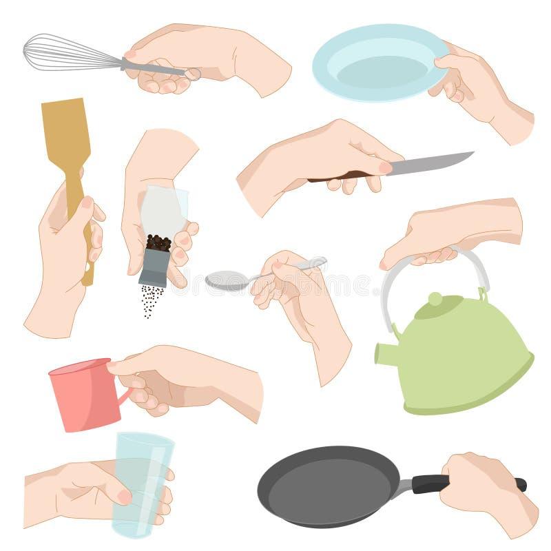 Les mains humaines d'articles de cuisine de restaurant faisant cuire les ustensiles graphiques de vaisselle de cuisine d'ustensil illustration de vecteur
