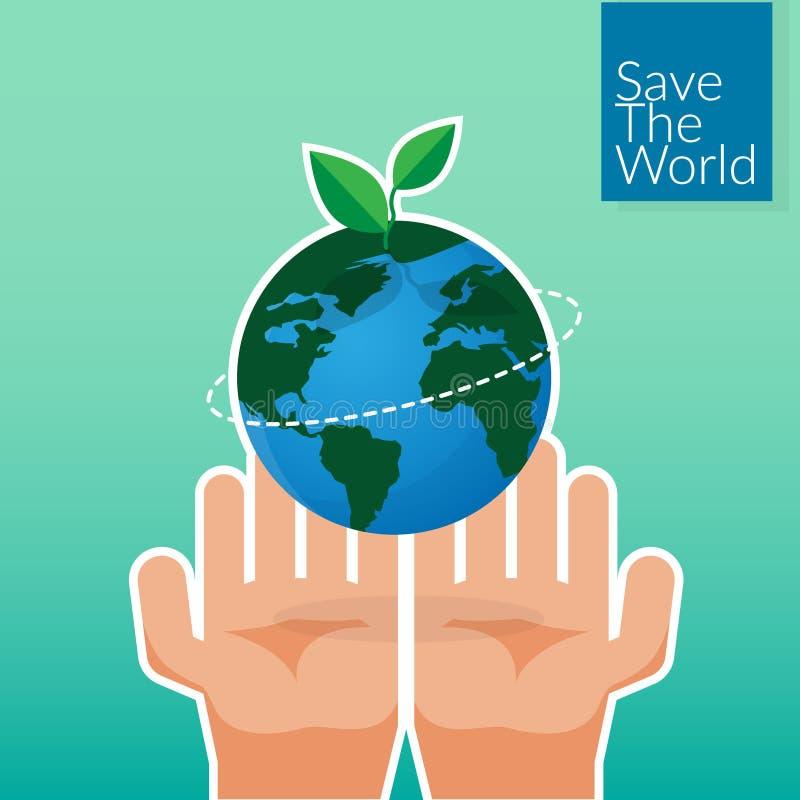 Les mains humaines tenant la terre, sauvent le concept du monde le volontaire du ` s de personnes remet planter le globe et l'arb illustration libre de droits