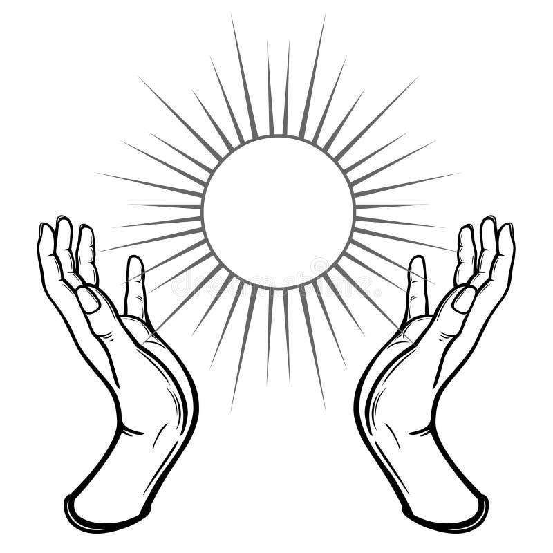 Les mains humaines tiennent un symbole du soleil brillant illustration de vecteur