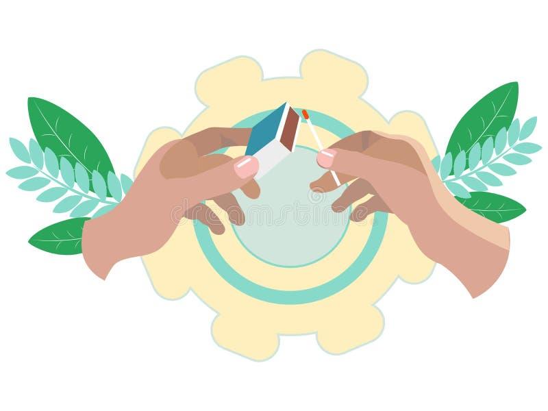 Les mains mettent le feu ? un match avec une bo?te d'allumettes Dans le style minimaliste Trame isométrique plate illustration libre de droits