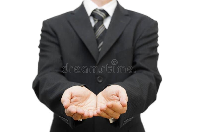 Les mains ouvertes de l'homme d'affaires photos stock