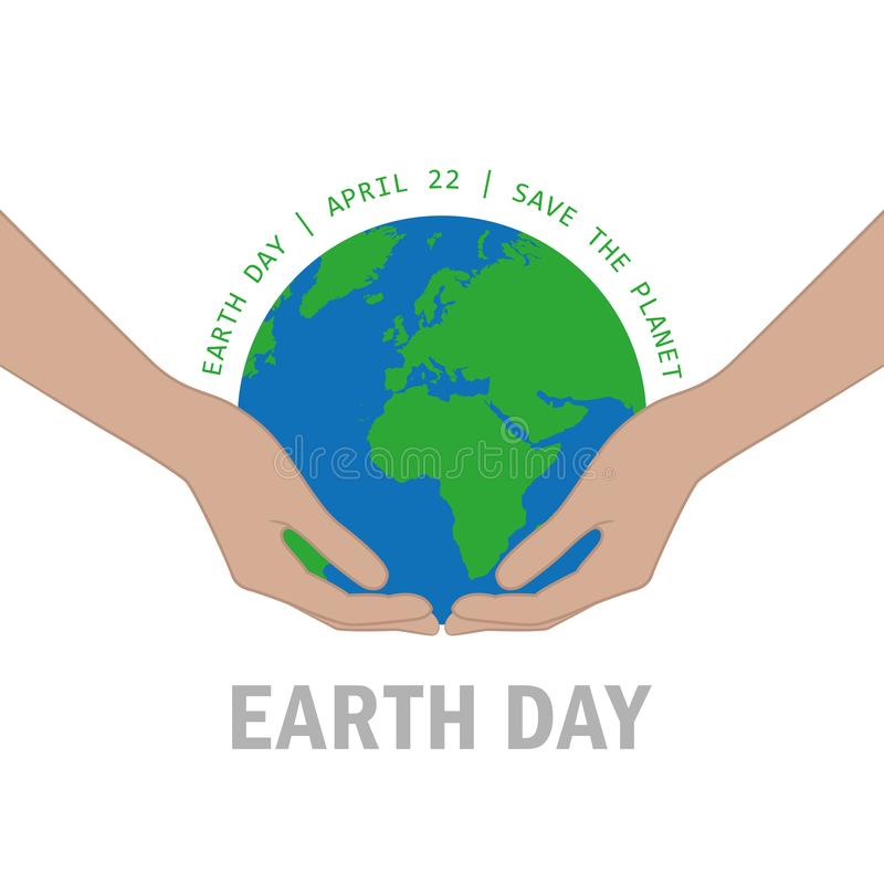 Les mains protègent le jour de terre de la terre le 22 avril sauf le concept de planète illustration de vecteur