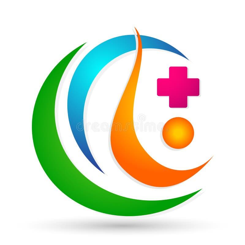 Les mains saines médicales de clinique de croix de la vie de famille s'inquiètent le parent de logo que les enfants aiment, protè illustration stock