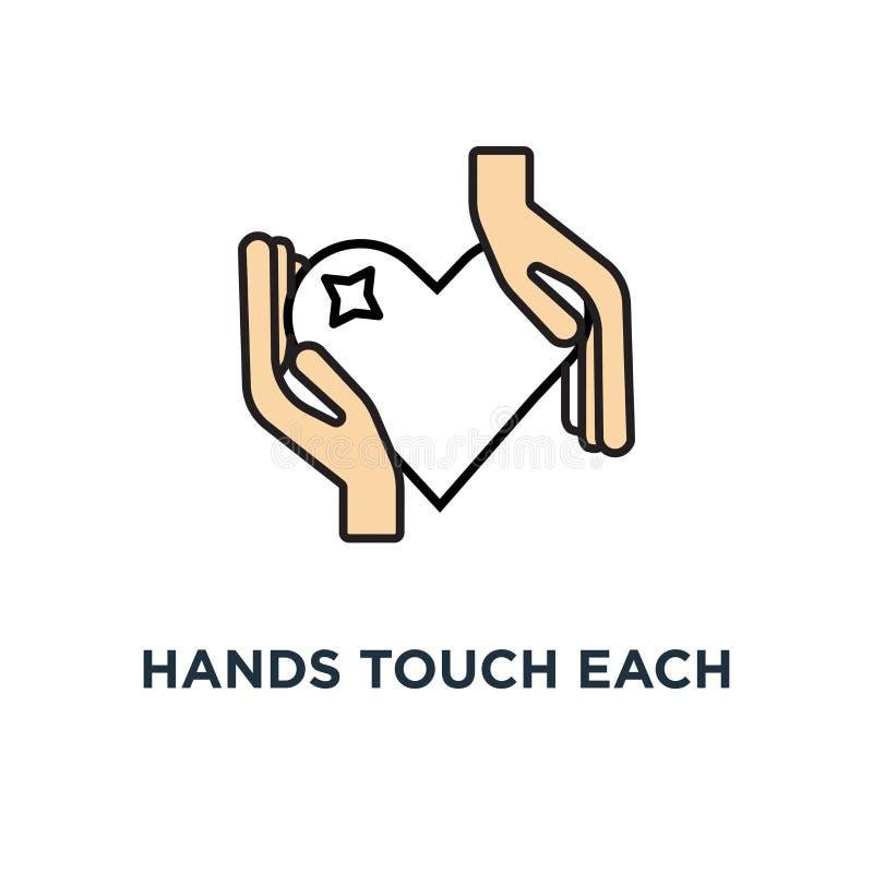 les mains se touchent et l'icône rouge de coeur recevez ou acceptez l'amour, la philanthropie, offrir ou l'aide, conception moder illustration stock