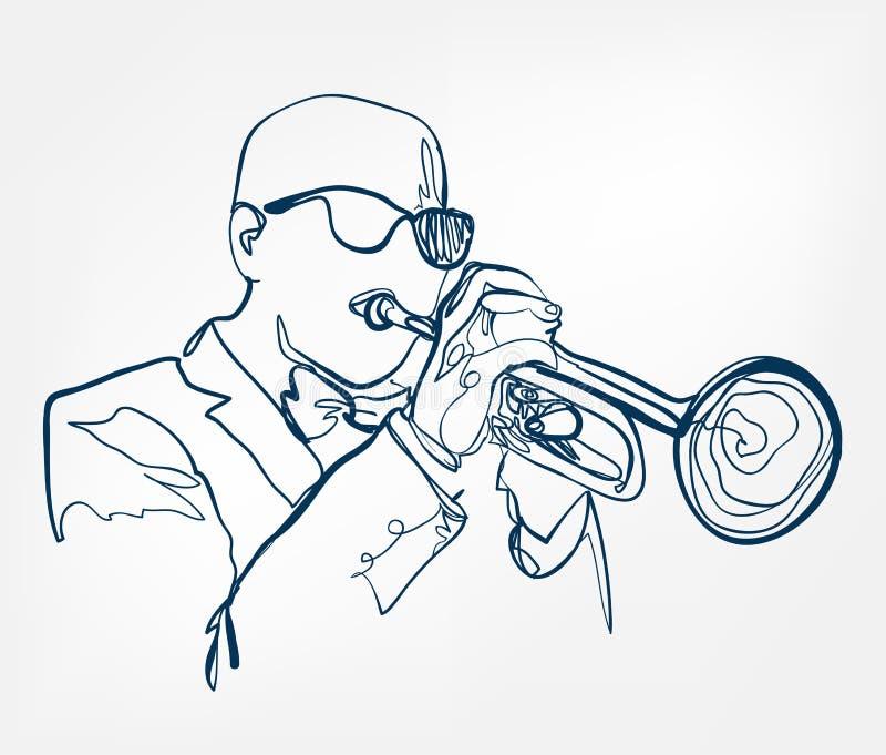Les mains sonnent de la trompette ligne instrument de croquis de musique de conception illustration de vecteur