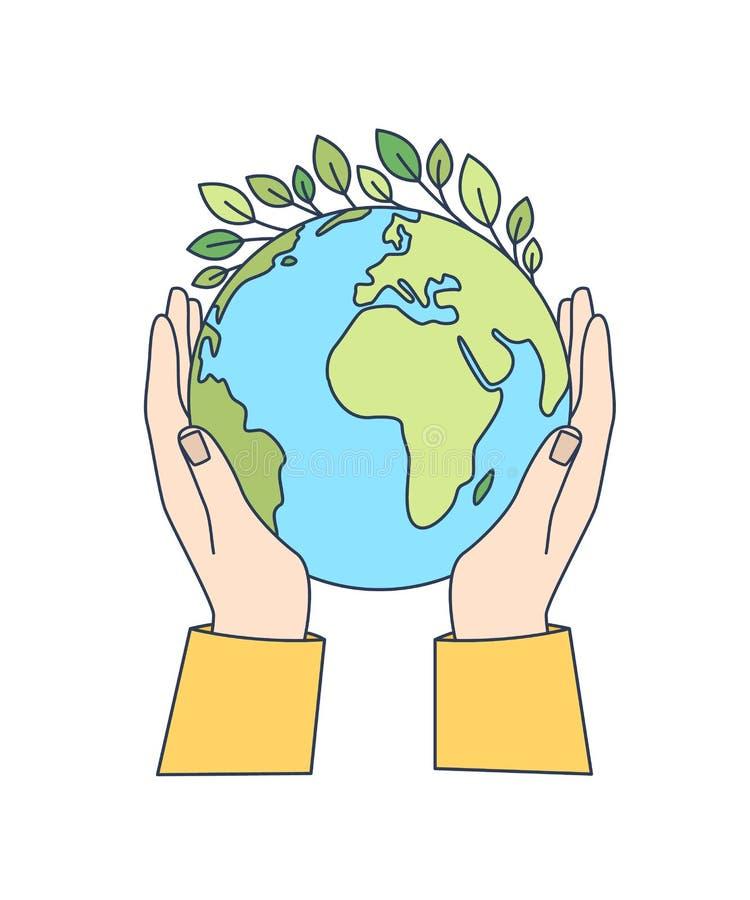 Les mains tenant la terre de planète avec les feuilles vertes s'élevant là-dessus ont isolé sur le fond blanc Mouvement écologiqu illustration de vecteur
