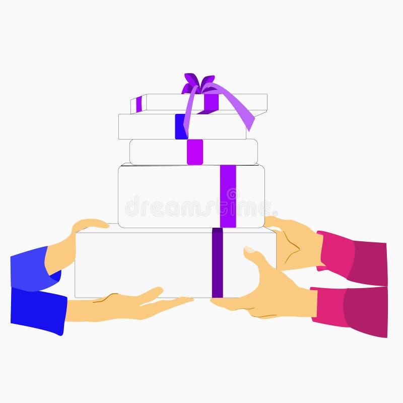 Les mains tiennent des boîtes avec la substance ou les vêtements et donner un à des autres choses Jour de donation illustration libre de droits