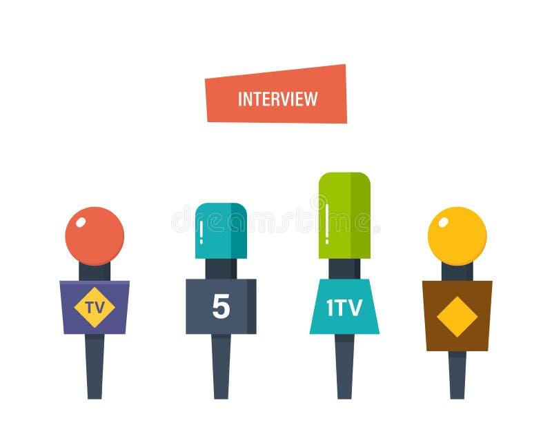 Les mains tiennent les différents microphones, entrevue de journalistes pour des éditeurs, presse, télévision illustration stock