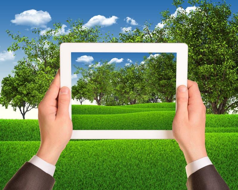 Les mains tiennent le PC de comprimé avec le paysage de nature As photo stock