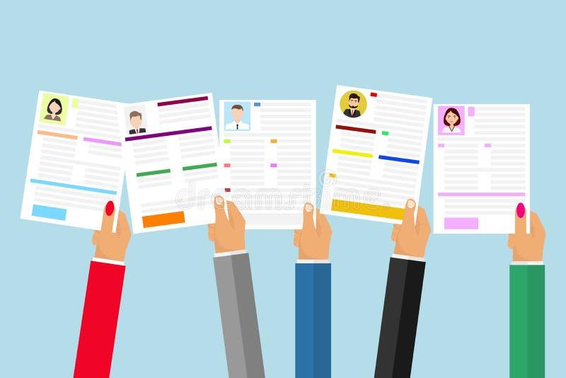 Les mains tiennent un résumé Le concept de la sélection de personnel Recherche du résumé désiré illustration de vecteur