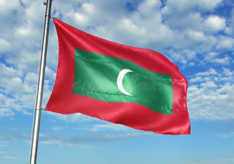 Les Maldives marquent l'ondulation avec le ciel sur l'illustration 3d réaliste de fond illustration de vecteur