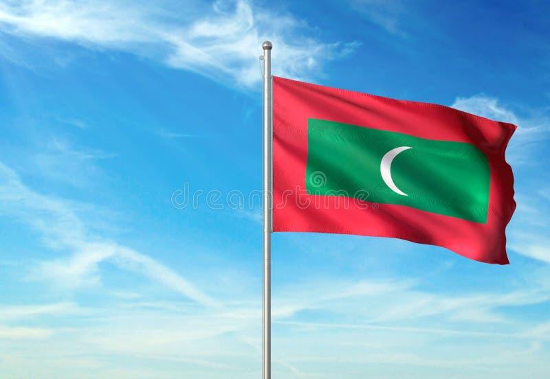 Les Maldives marquent l'ondulation avec le ciel sur l'illustration 3d réaliste de fond illustration stock