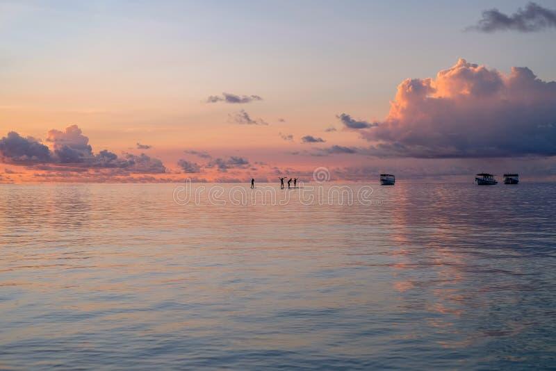 Les Maldives, silhouette de planche de surf photo libre de droits