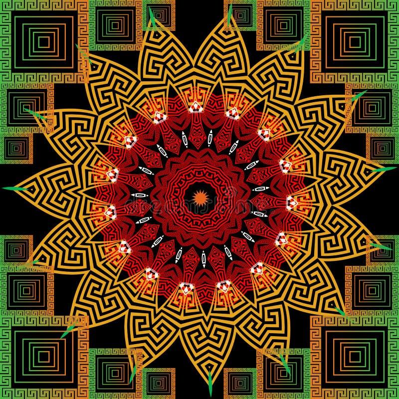 Les mandalas ronds floraux grecs géométriques dirigent le modèle sans couture Ornemental fond de places de schéma Fleurs fleuries illustration libre de droits