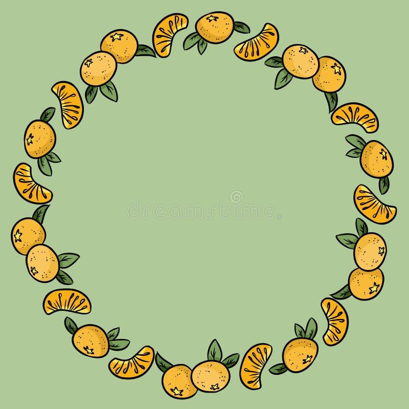 Les mandarines ornementent Guirlande de mandarine orange mûre Cadre sain illustration de vecteur