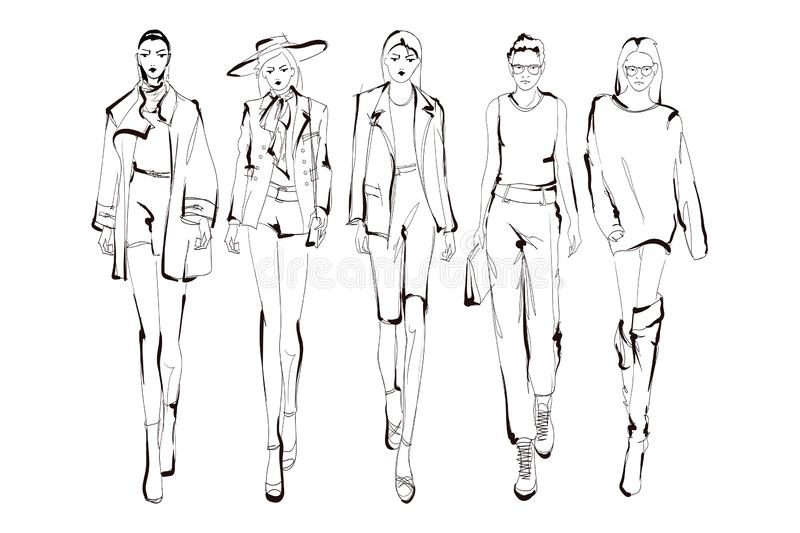 Les mannequins esquissent les silhouettes tir?es par la main et stylis?es d'isolement Ensemble d'illustration de mode de vecteur illustration libre de droits