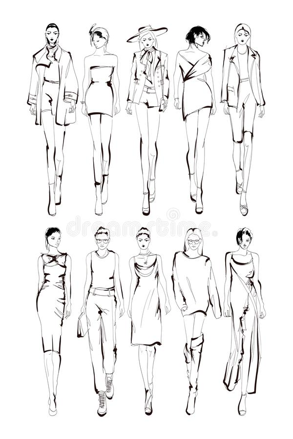 Les mannequins esquissent les silhouettes tir?es par la main et stylis?es d'isolement Ensemble d'illustration de mode de vecteur illustration stock
