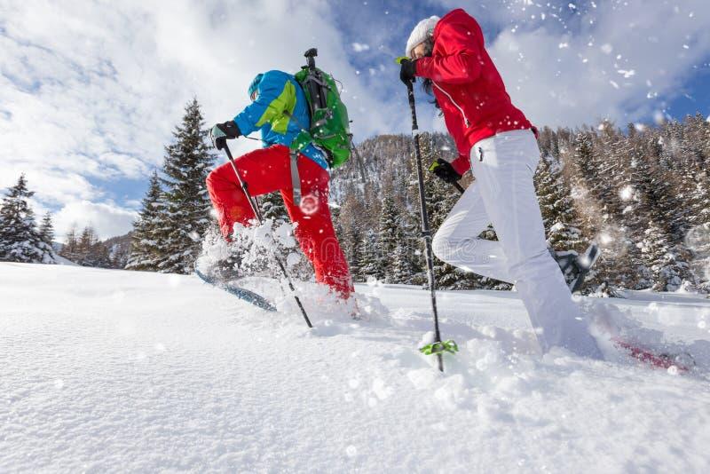 Les marcheurs de raquette courant dans la poudre neigent avec la belle lumière de lever de soleil photographie stock libre de droits