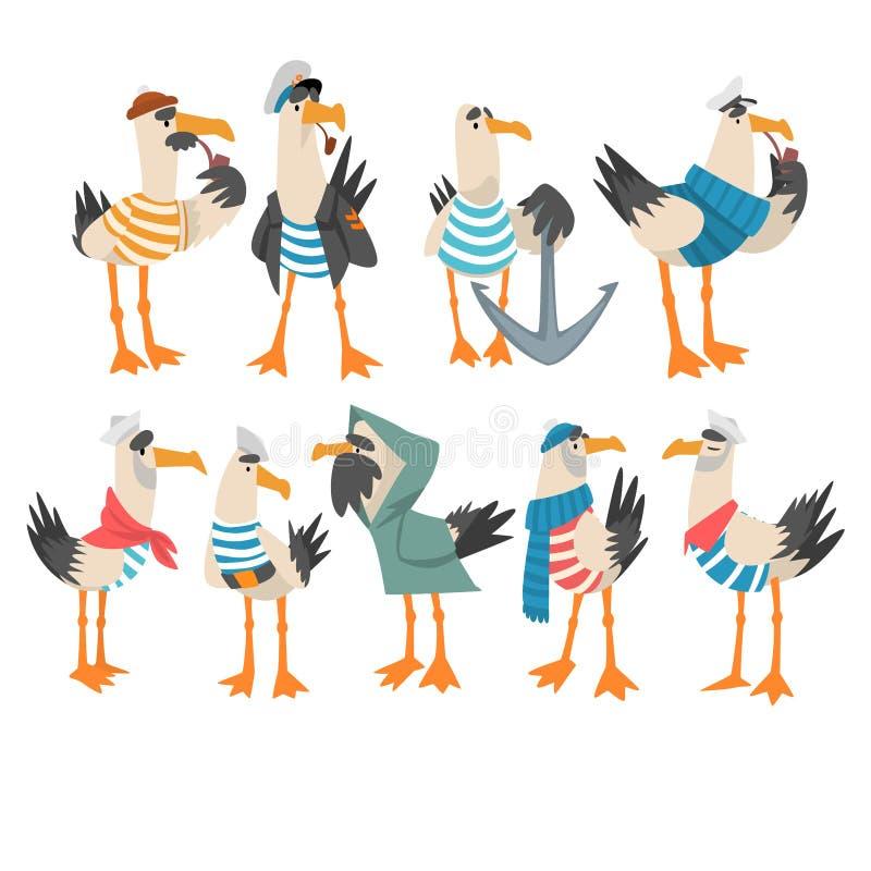 Les marins de mouettes ont placé, illustration drôle de vecteur de capitaine Birds Cartoon Characters illustration libre de droits