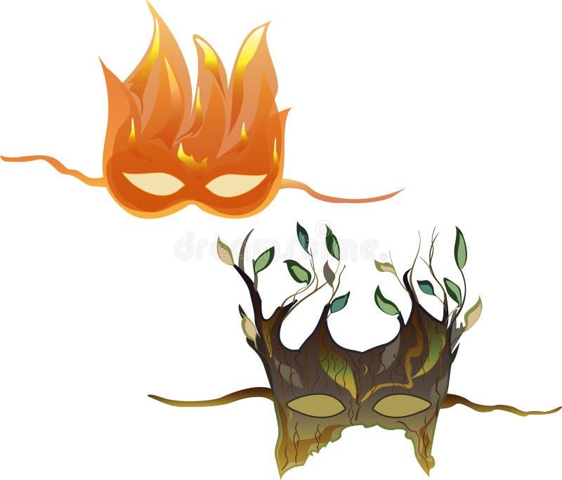 Les masques du bois et du feu image libre de droits