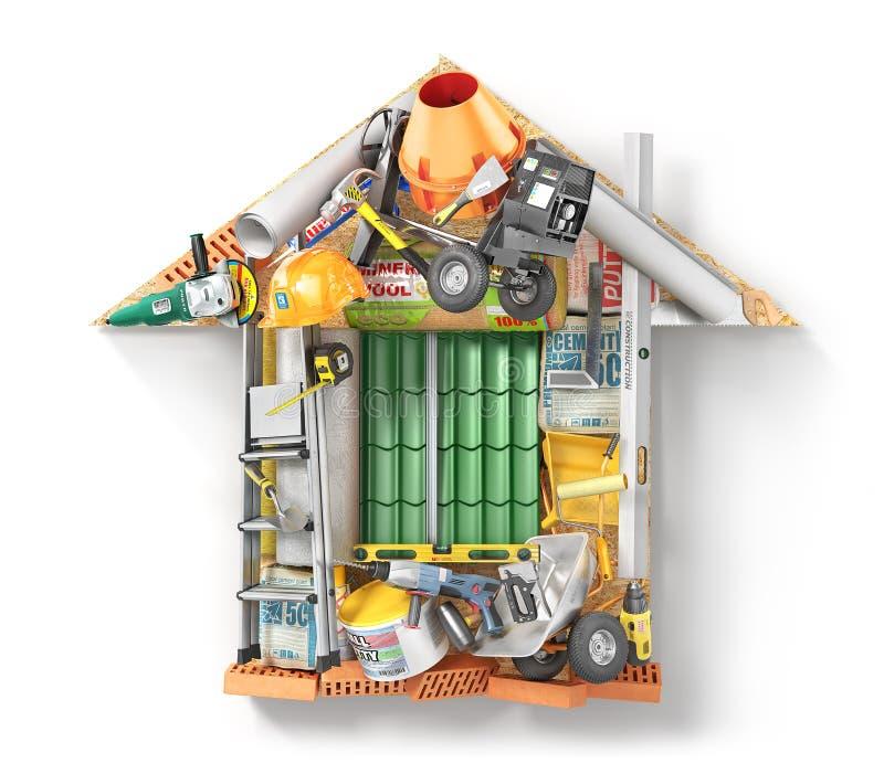 Les matériaux de construction présentés forment de la maison d'isolement sur un blanc illustration 3D illustration libre de droits