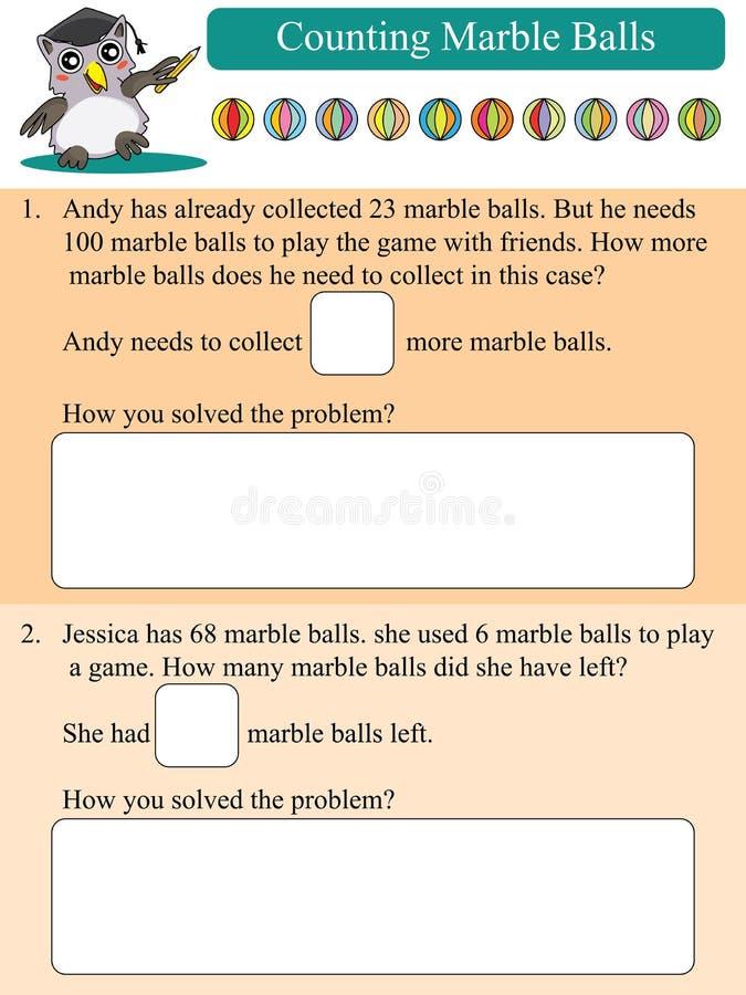 Les mathématiques comptant les boules de marbre ont résolu le problème illustration de vecteur