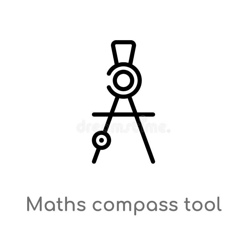 les maths d'ensemble font le tour de l'ic?ne de vecteur d'outil ligne simple noire d'isolement illustration d'?l?ment de concept  illustration stock