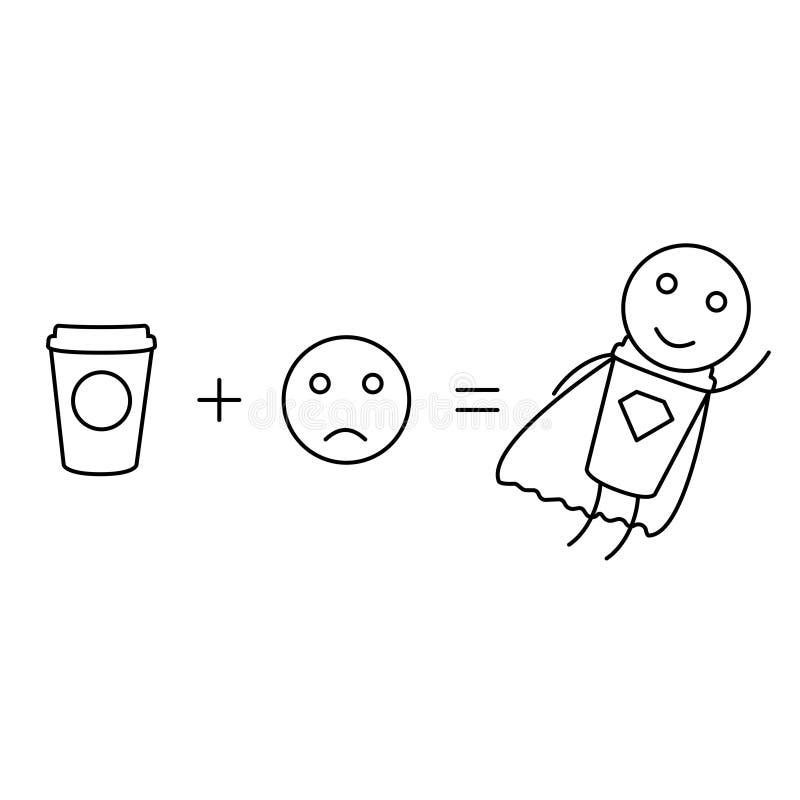 Les maths de café donneront à puissance le fond blanc illustration stock