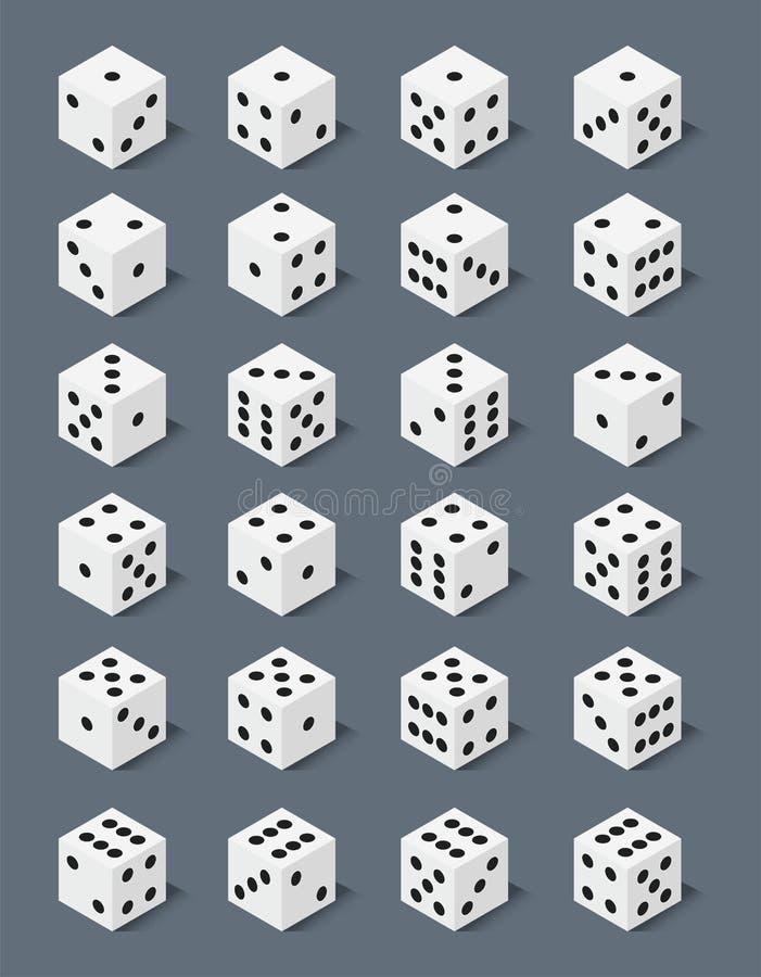 Les matrices isométriques numérotent l'illustration chanceuse de vecteur de cube en jeu de perte de variantes de casino de fortun illustration stock
