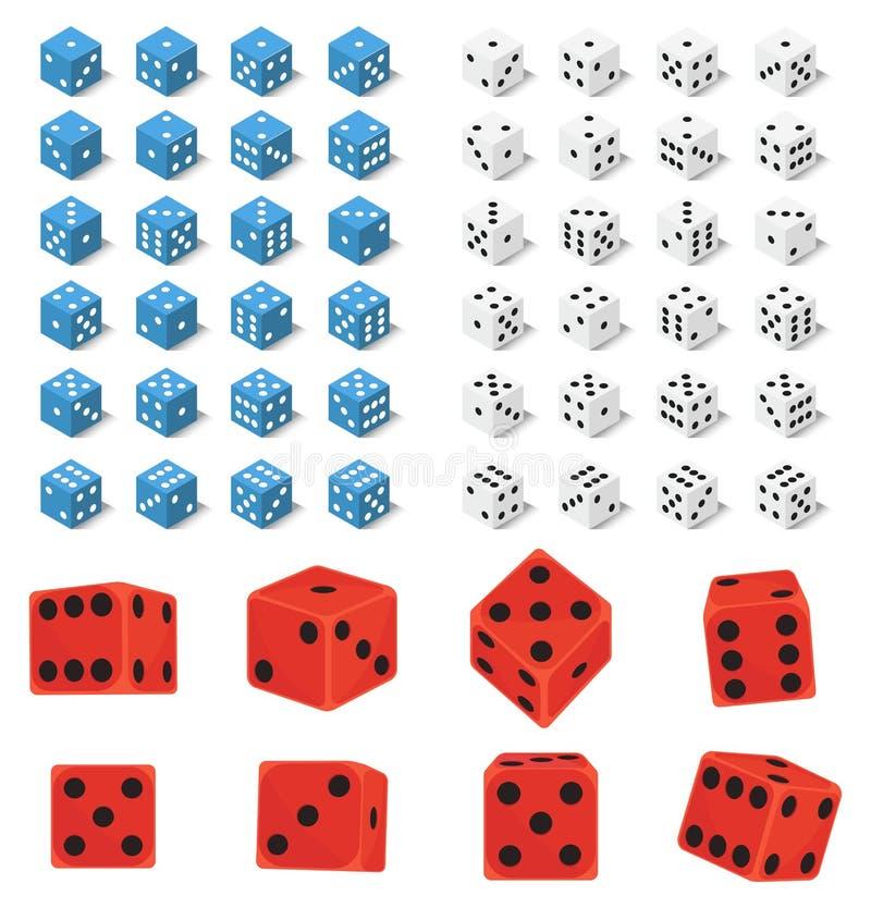 Les matrices isométriques numérotent l'illustration chanceuse de vecteur de cube en jeu de perte de variantes de casino de fortun illustration de vecteur