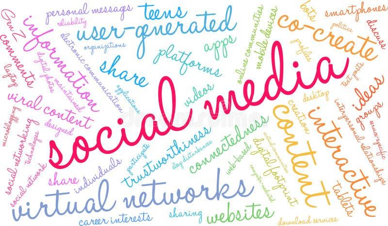 Les medias sociaux expriment le nuage illustration libre de droits