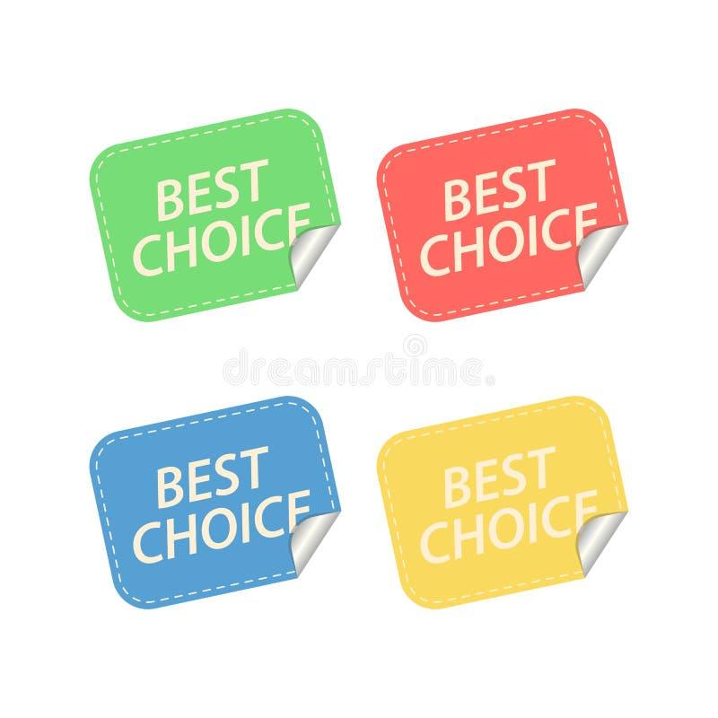 Les meilleures étiquettes de choix D'isolement sur le blanc illustration de vecteur