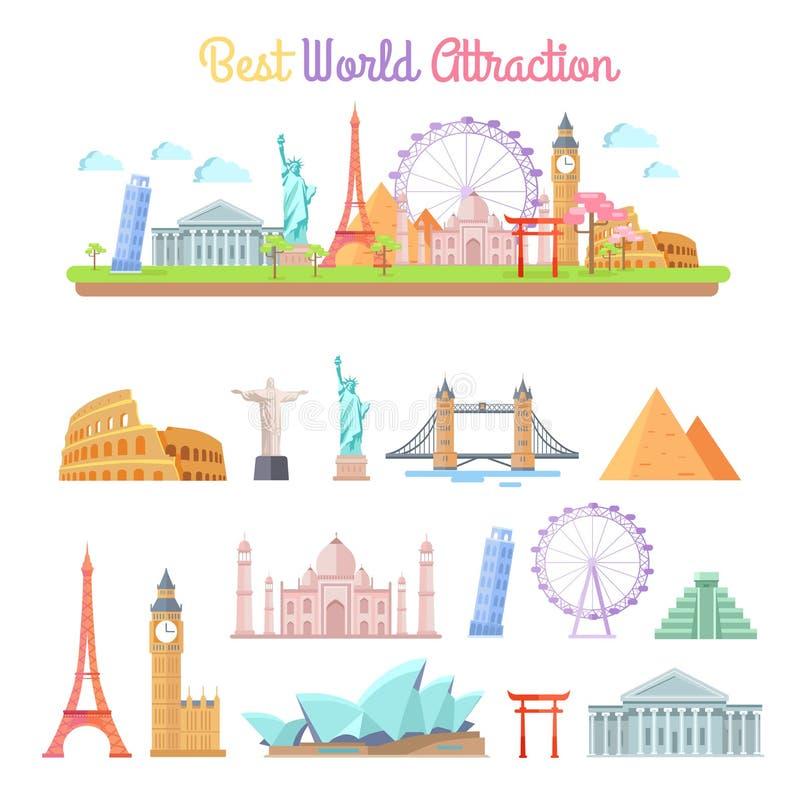 Les meilleures illustrations de bande dessinée d'attractions du monde réglées illustration stock