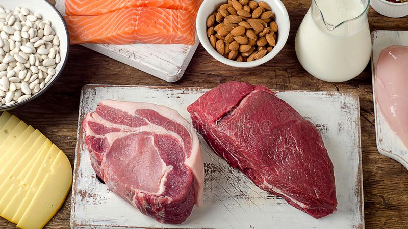 Les meilleures nourritures hautes en protéine photo stock