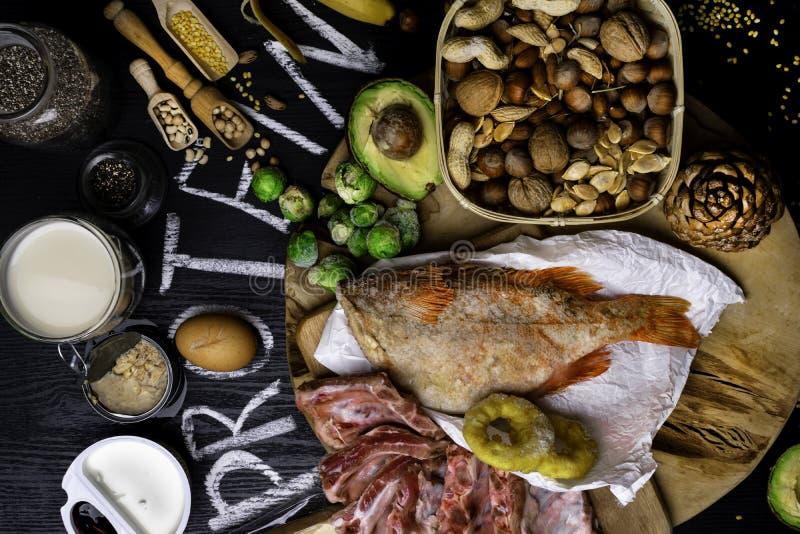 Les meilleures nourritures hautes en protéine Concept sain de consommation et de régime photographie stock