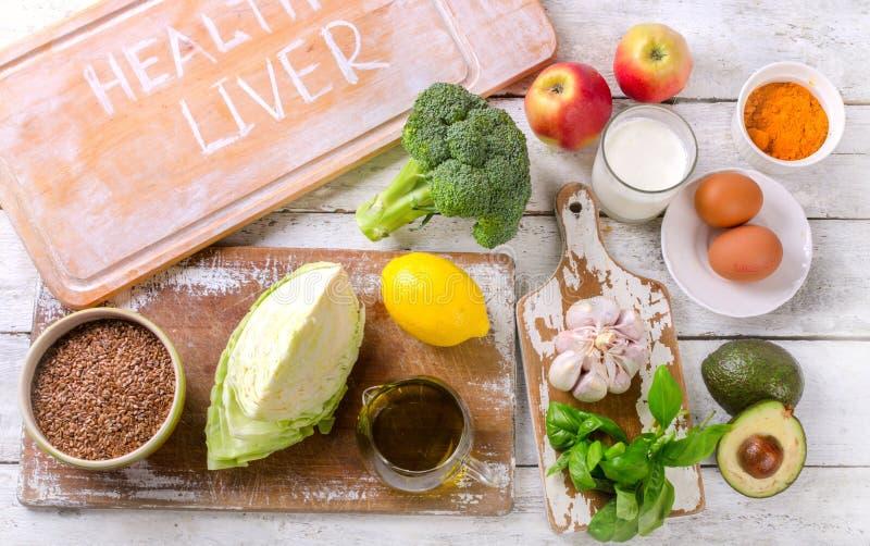 Les meilleures nourritures pour le foie sain et propre photographie stock