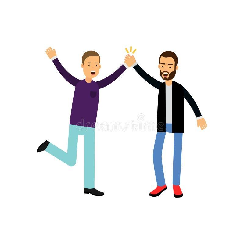 Les meilleurs amis masculins heureux donnent cinq entre eux, amitié heureuse illustration de vecteur