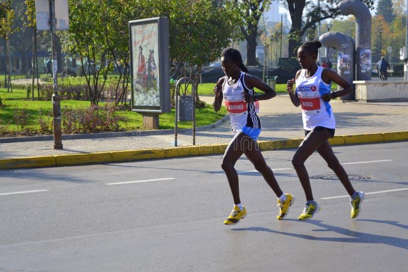 Les meilleurs athlètes féminins Sofia Marathon images libres de droits