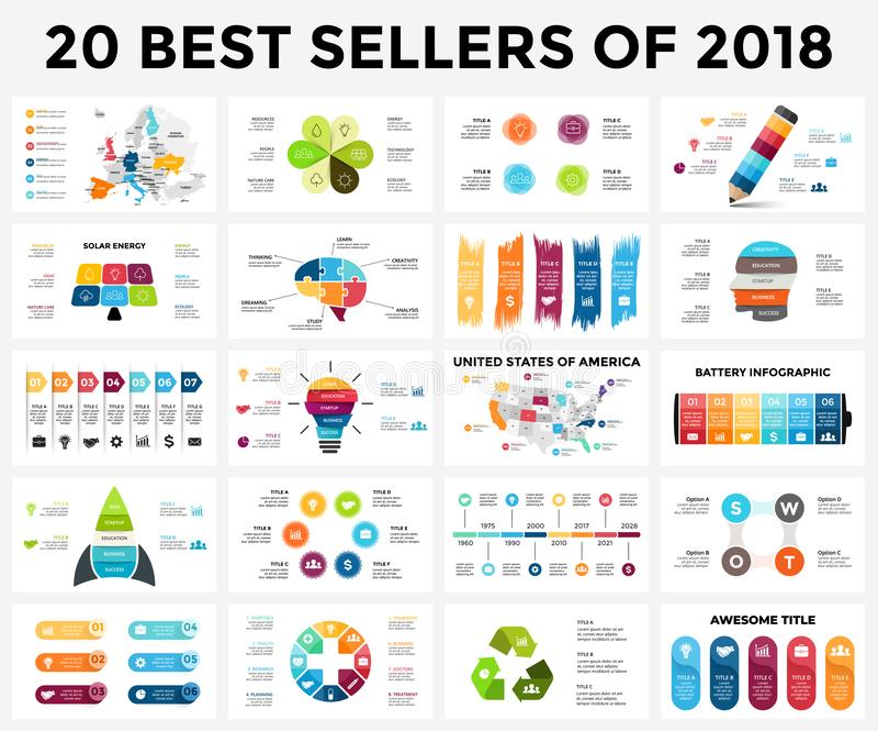 Les meilleurs calibres infographic de 2018 Ensemble de glissières de présentation Diagrammes de cercle, chronologies, bannières,  illustration libre de droits