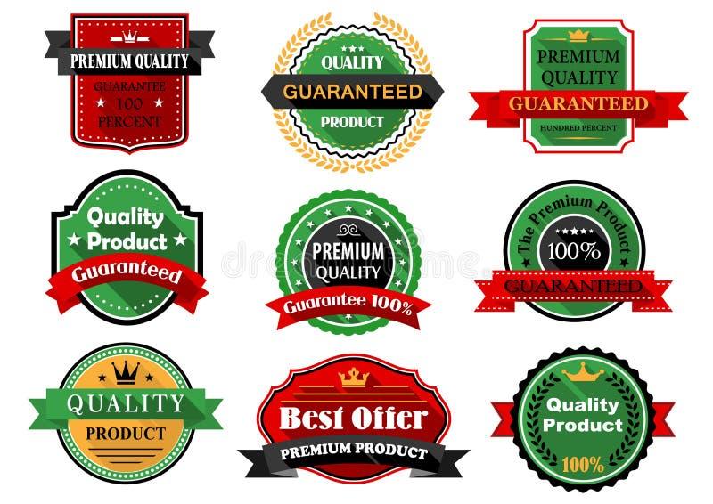 Les meilleurs labels d'appartement de produit d'offre et de qualité illustration stock