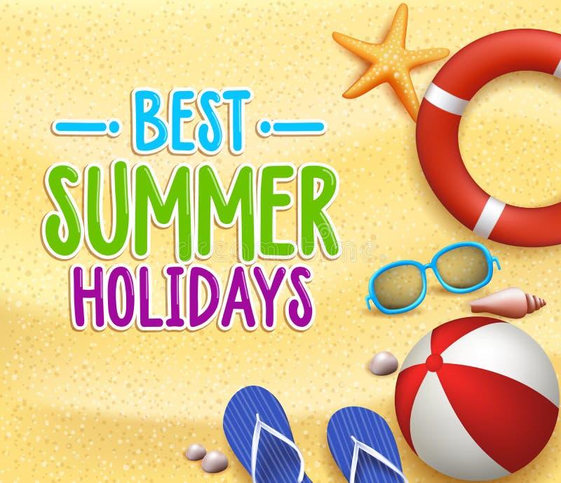 Les meilleurs mots colorés de titre de vacances d'été dans la plage à sable jaune illustration stock