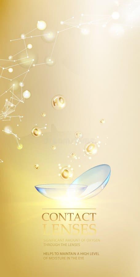 Les meilleurs verres de contact bleus pour votre bruyère d'oeil L'illustration médicale avec la baisse de vitamine au-dessus du f illustration de vecteur