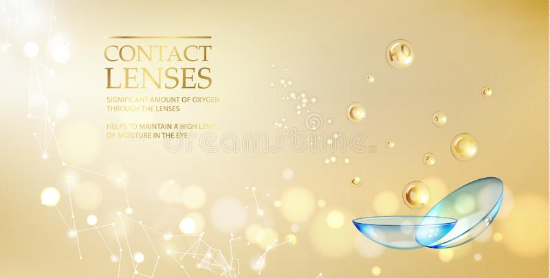 Les meilleurs verres de contact bleus pour votre bruyère d'oeil L'illustration médicale avec la baisse de vitamine au-dessus du f illustration stock